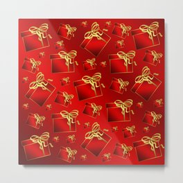 many small red gifts with golden bow on shiny dark red Metal Print