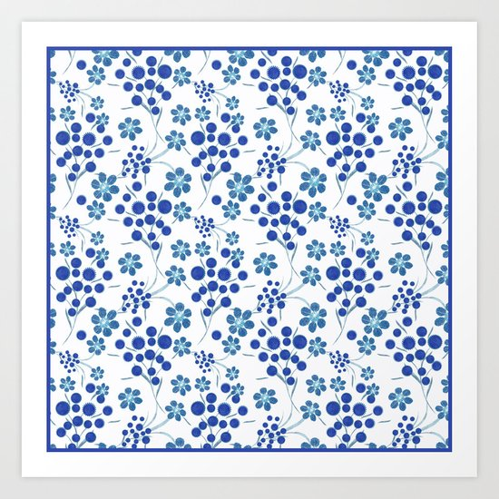 Blue flowers on a white background. Art Print