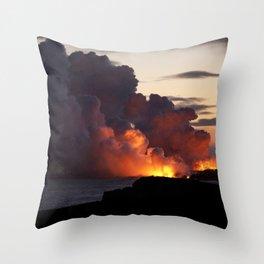 Lava Vaporizes Ocean Throw Pillow