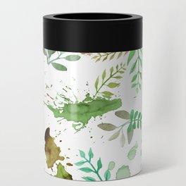 Green Leaves, Paint Splatter, Pattern Can Cooler