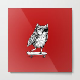 Ride On Owl_red Metal Print