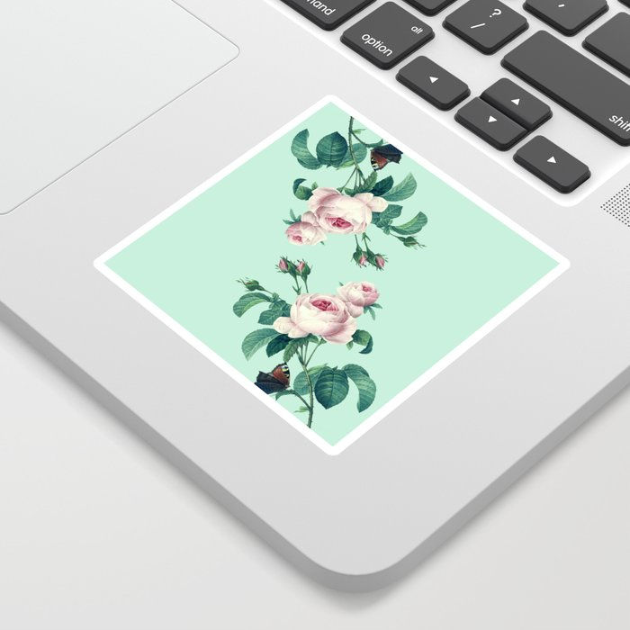 Roses Mint Green + Pink Sticker