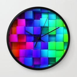 Cubos coloridos Wall Clock