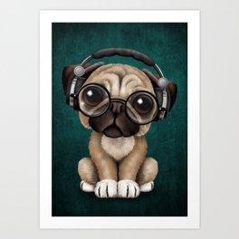 Cute Pug Puppy Dj Wearing Headphones and Glasses on Blue Art Print