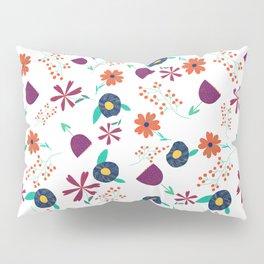 Purple Orange Blue Flower Pattern Pillow Sham
