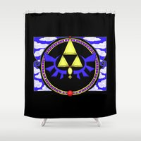 triforce Shower Curtains featuring Triforce Nouveau by Mary Ruth Anderson