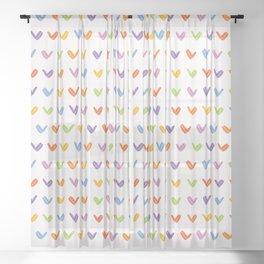 Hand painted rainbow yes tick. Sheer Curtain