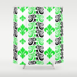 Fluer de Lis Custom Green Shower Curtain