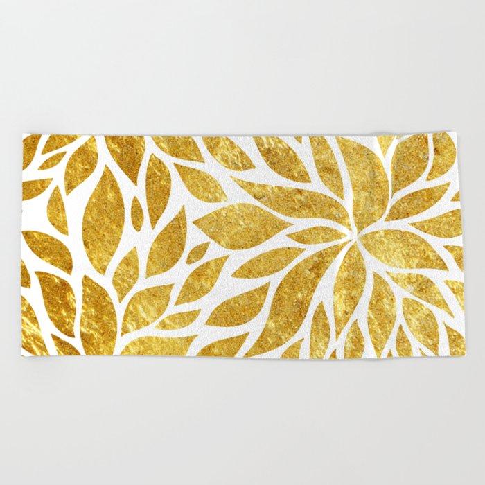 Golden Bloom Beach Towel