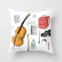 murakami Throw Pillows featuring I miss you sometimes by Saskdraws