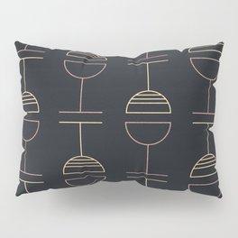 Art Deco Gold Red Ovals on Black Background Pillow Sham