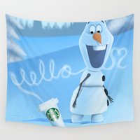 olaf Wall Tapestries featuring oh hello coffee im olaf  by Dan Solo Galleries