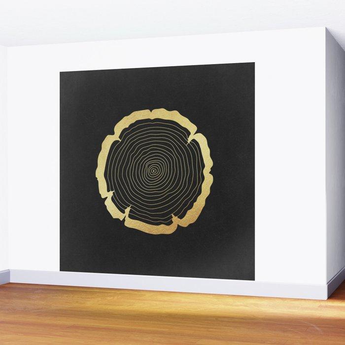Metallic Gold Tree Ring on Black Wall Mural