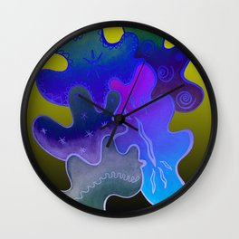 Relaxing Ornamental Spirits. Meditative iFi Art. Stress and Pain Free with MYT3H. Neon. Dreamy. Wall Clock