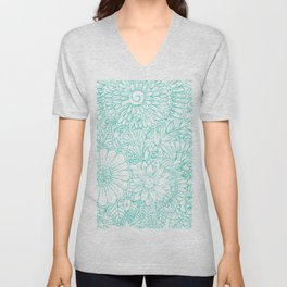 Artistic teal white hand painted floral pattern Unisex V-Neck