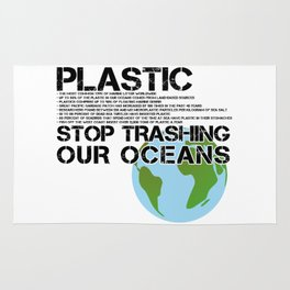 Anti Plastic Ocean Water Pollution Facts Protest (Read Fine Print) Rug