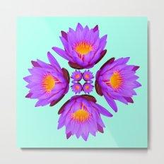 Purple Lily Flower - On Aqua Blue Metal Print