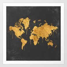 Gold World Map Art Print