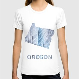 Oregon map outline Light steel blue clouded wash drawing T-shirt