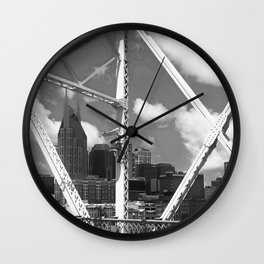Nashville City Scape Black and White Wall Clock
