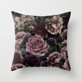 Burgundy Vintage Garden Throw Pillow