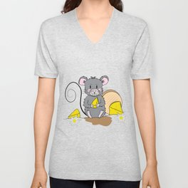 Cartoon Mouse with Cheese Unisex V-Neck