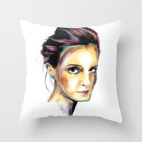 emma watson Throw Pillows featuring Emma Watson by caffeboy