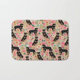 Rottweiler florals cute dog pattern pet friendly dog lover gifts for all dog breeds Bath Mat