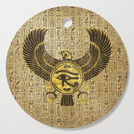 Egyptian Eye of Horus - Wadjet Gold and Wood Cutting Board