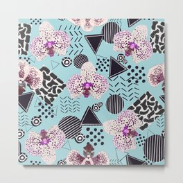 Orchid With Geometric Shapes, Leopard Pattern Metal Print