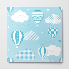 Baby Blue Clouds and Hot Air Balloons  Metal Print