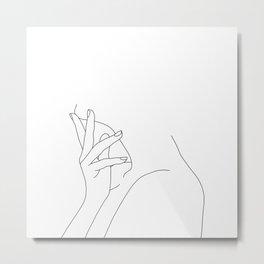 Figure line drawing illustration - Josie Metal Print