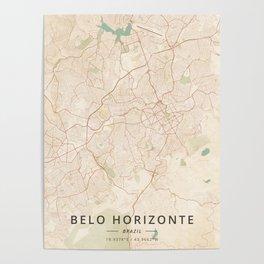 Belo Horizonte, Brazil - Vintage Map Poster