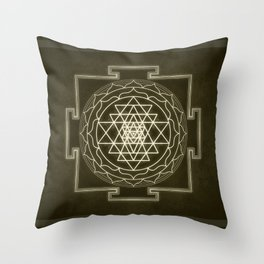 Sri Yantra XI monochrome Throw Pillow