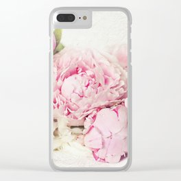 Peonies on white Clear iPhone Case
