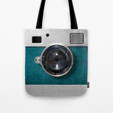 Classic retro Blue Teal Leather silver Germany vintage camera iPhone 4 4s 5 5c, ipod, ipad case Tote Bag