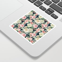 Country chic navy blue pink ivory watercolor floral Sticker