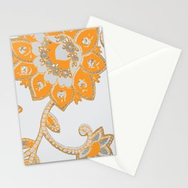 vintage paisley orange/grey Stationery Cards