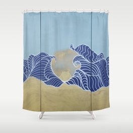 Japanese wall art Large painting J055 Fuji sea sun Japan mid century modern art by artist Ksavera Shower Curtain