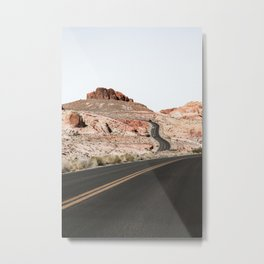 Landscape In Nevada Photo   Road Trough Valley Of Fire State Park Nature Print   Travel Photography Metal Print