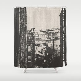 Edinburgh Scotland Blackn and White Shower Curtain