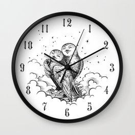 Owls white night Wall Clock