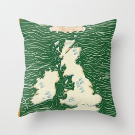 Vintage Victorian British Isles Map Throw Pillow
