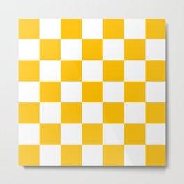 Yellow and White Check Metal Print