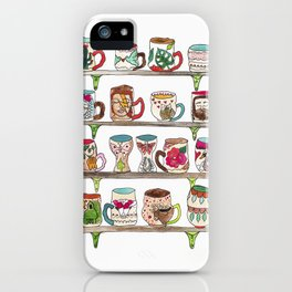 mugs on a shelf iPhone Case
