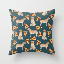 Yellow Labrador pizza cheesy slice of pizza food trendy pet gifts for yellow lab owners dog breed Throw Pillow