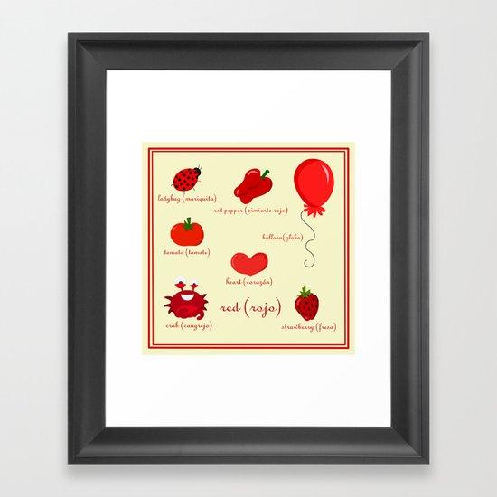 Colors: red (los colores: rojo) Framed Art Print