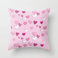 Pink heart print Throw Pillow