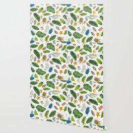 Bright summer! Watercolor bugs Wallpaper