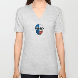Baby Owl with Glasses and Texas Flag Unisex V-Neck